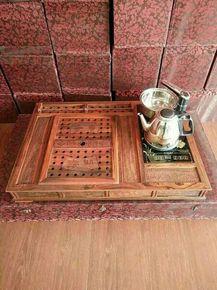 老挝大红酸枝功夫原木嵌入式实木质茶盘办公客厅中式复古茶道茶具