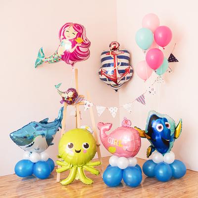 海洋系列美人鱼铝膜气球生日派对装饰幼儿园房间布置鲨鱼章鱼鲸鱼