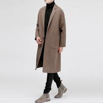 花花公子秋冬男装羊毛呢大衣青年修身英伦外套男士中长款呢子风衣