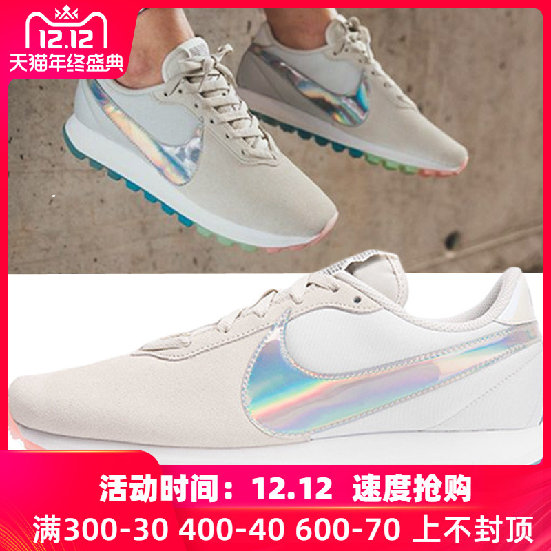 耐克女鞋2018秋新款运动鞋镭射彩虹反光复古休闲鞋板鞋AO3166-100