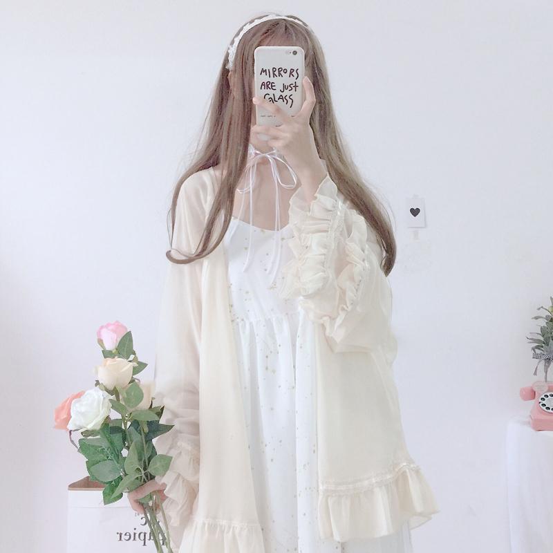 夏装新款女装韩版小清新星星吊带裙连衣裙+荷叶边雪纺开衫套装潮