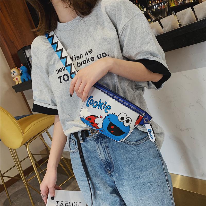 包包女包新款2019夏季韩版搞怪单肩小包宽肩带斜挎包时尚卡通胸包
