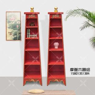 藏式彩绘多宝格置物架书架书柜展示柜储物架中式仿古实木家具定制
