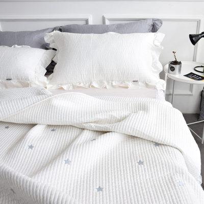北欧全棉夹棉床盖三件套欧美五角星刺绣韩式纯棉可做床单床垫新品特惠