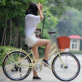 飞鸽自行车女式24寸变速车双碟刹男士学生成人复古淑女轻便单车