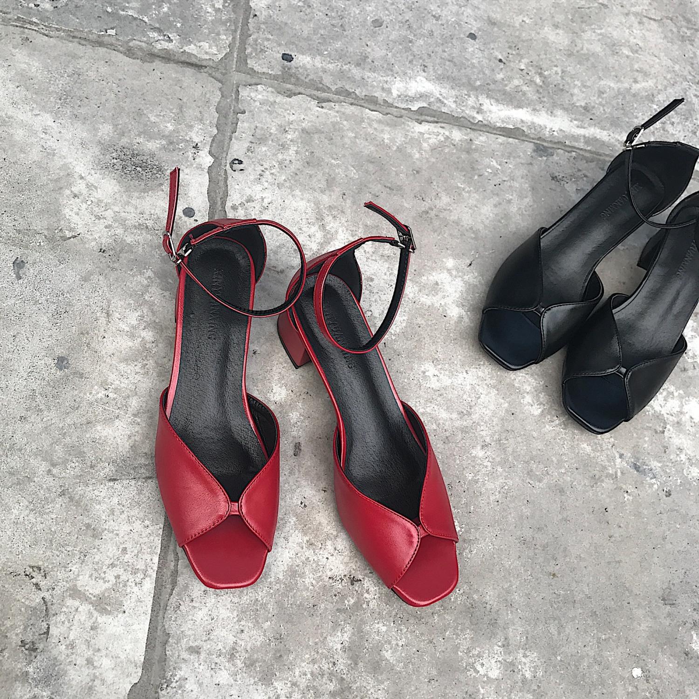 阿Q哥家 2019新款夏季中空鱼嘴复古低跟凉鞋红色方头粗跟女鞋子