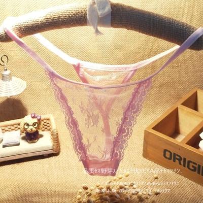 日韩学院风 蕾丝性感诱惑透明透视无痕百搭 高弹女士丁字内裤T裤