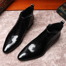 European and American SNAKE-PRINT men's shoes, lacquered leather men's high-upper shoes, Martin boots, men's leather fashion boots, pointed leather shoes, men's boots