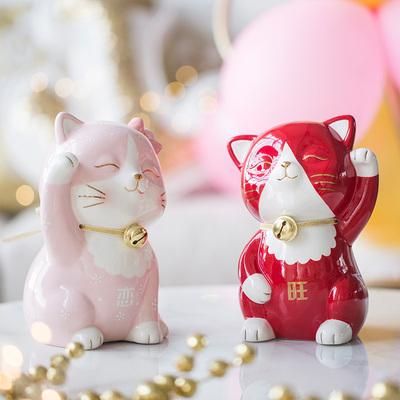 情人节礼物招财猫摆件发财猫陶瓷日本存钱储蓄罐店铺开业创意礼品