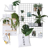 Grid photo wall decoration girl dormitory ins creative bedroom hemp rope clip hanging no trace nail photo iron frame