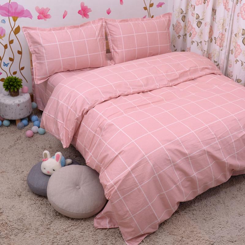 格子床单四件纯棉