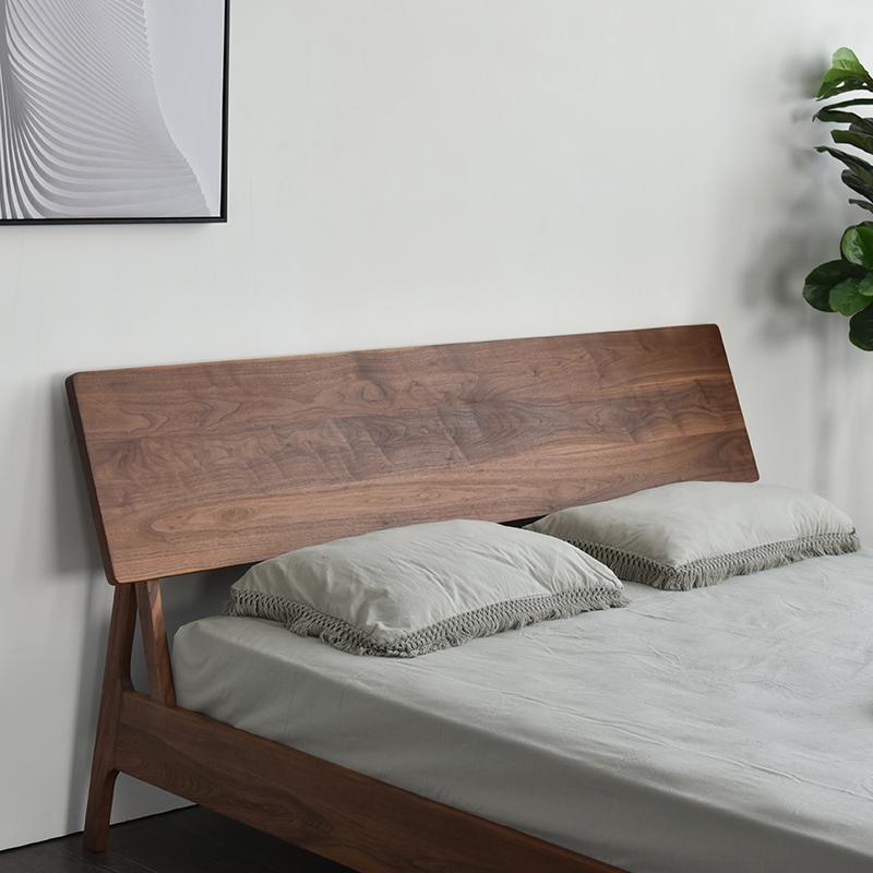北欧日式新中式白蜡木黑胡桃木全实木现代简约实木床