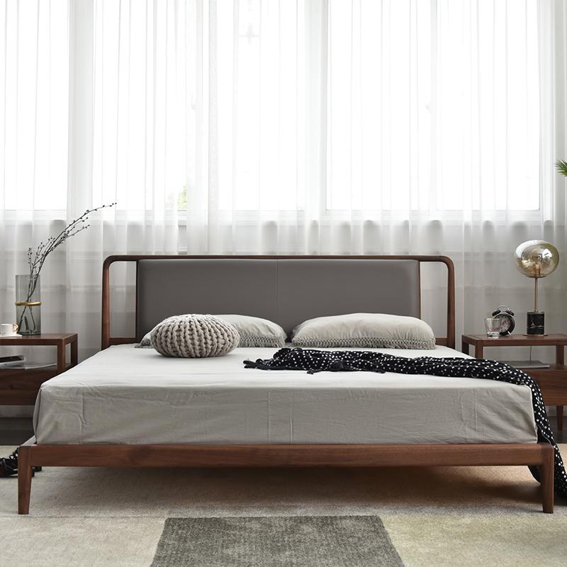 北欧原创设计师黑胡桃木白蜡木简约禅意新中式皮靠背实木床