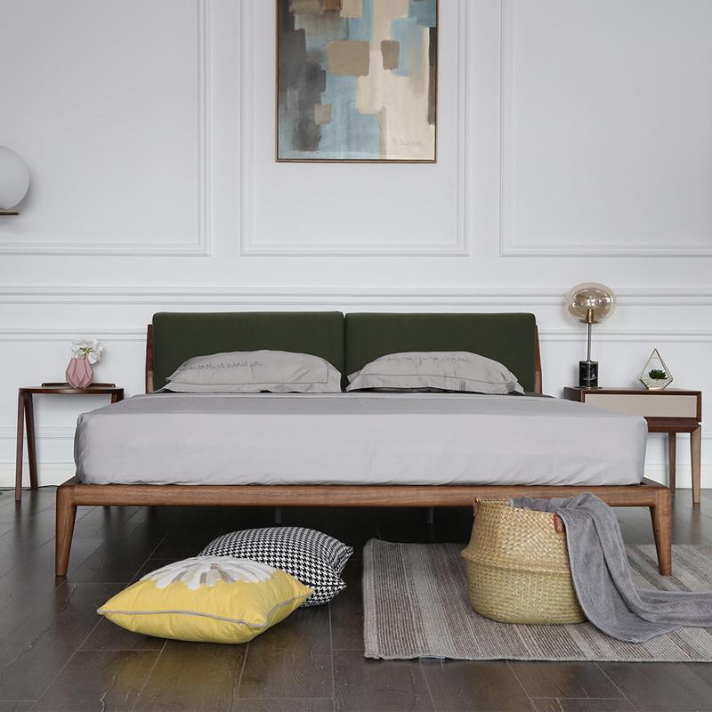 北欧简约软靠背可拆洗定制订做白蜡木黑胡桃木1.8米1.5米全实木床