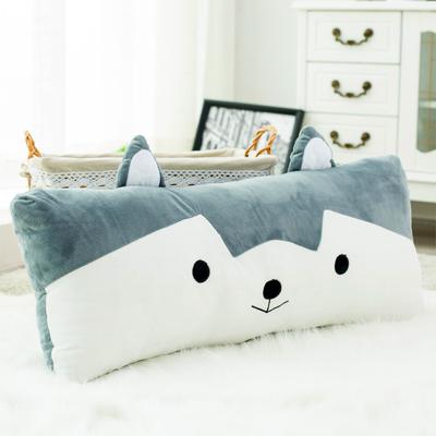 哈士奇睡觉抱枕靠枕床头靠垫大靠背腰靠情侣床上双人长条枕头可爱在哪买