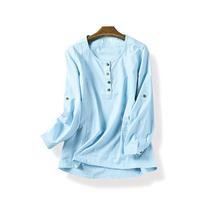 14187 春季新款女装文艺套头长袖上衣舒适透气麻棉衬衫1月10日