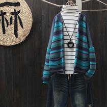 涧蓝韩版女士短款外套春秋宽松文艺复古简约条纹针织衫小开衫毛衣