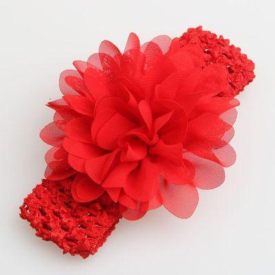 婴儿头饰发带头箍手工雪纺花大花朵发带宝宝粉色红色白色发箍发带
