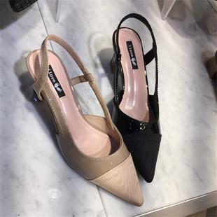 东大门进口拼接布面尖头单鞋2018春季新款漆皮后空小粗跟浅口女鞋