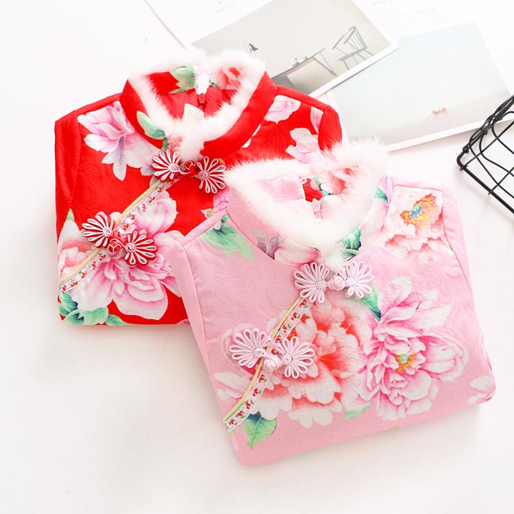 冬季新款女童加棉旗袍连衣裙儿童装红色节日花朵格格公主裙子唐装