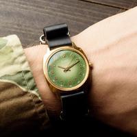 乌克兰代购Original◇古着1970s收藏复古苏联绿色面机械真皮手表