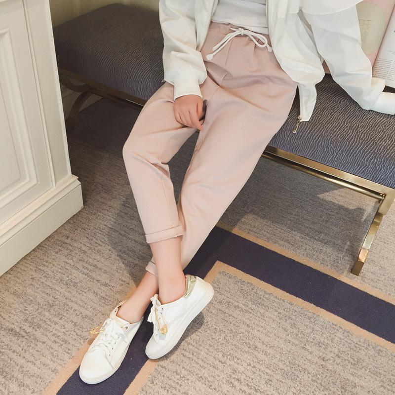 蘑菇家春装新款女装2016系带松宽松裤子女哈伦裤休闲长裤潮KZ24025元优惠券