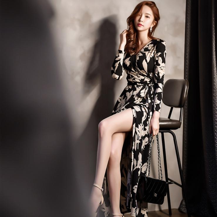 印花长裙长袖韩版