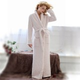 Bathrobe couple of men and women fall and winter long section of European and American export soft robe lengthened thick warm pajamas tracksuit
