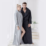 Gown fashion lovers fall and winter long section of high-end men and women longer section Nordic minimalist hotel bathrobes pajamas home service