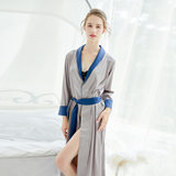 Yarn sexy nightgown female spring and seven French bride gown long section of men and women couples pajamas female long-sleeved thin section bathrobes