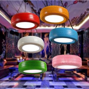 北欧工业风格餐咖啡厅装饰美式创意个性复古酒吧怀旧彩色轮胎吊灯