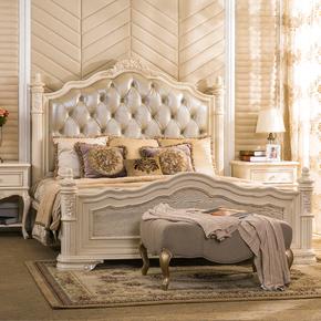 美式实木床欧式风格家具法式床双人床1.8米奢华婚床主卧真皮大床