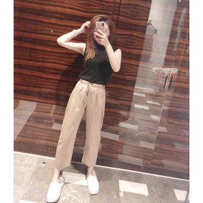 娃娃家 2018夏季新款 韩版时尚套装女两件套T恤+休闲裤子潮Y 808