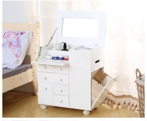 实木梳妆台翻盖带镜卧室小户型迷你化妆桌床头柜化妆品收纳梳妆柜