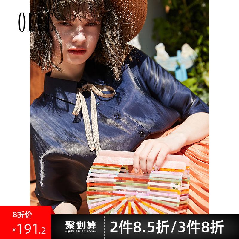 Oece2019夏装新款女装 很仙的上衣甜美雪纺衫复古短袖衬衫衬衣潮