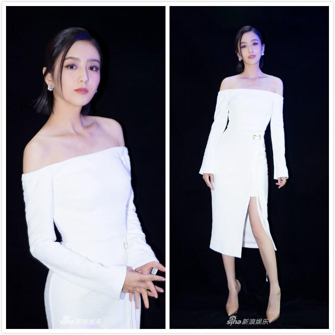 收腰连衣裙礼服裙中长裙女 白色一字肩长袖 新款 星空演讲佟丽娅同款