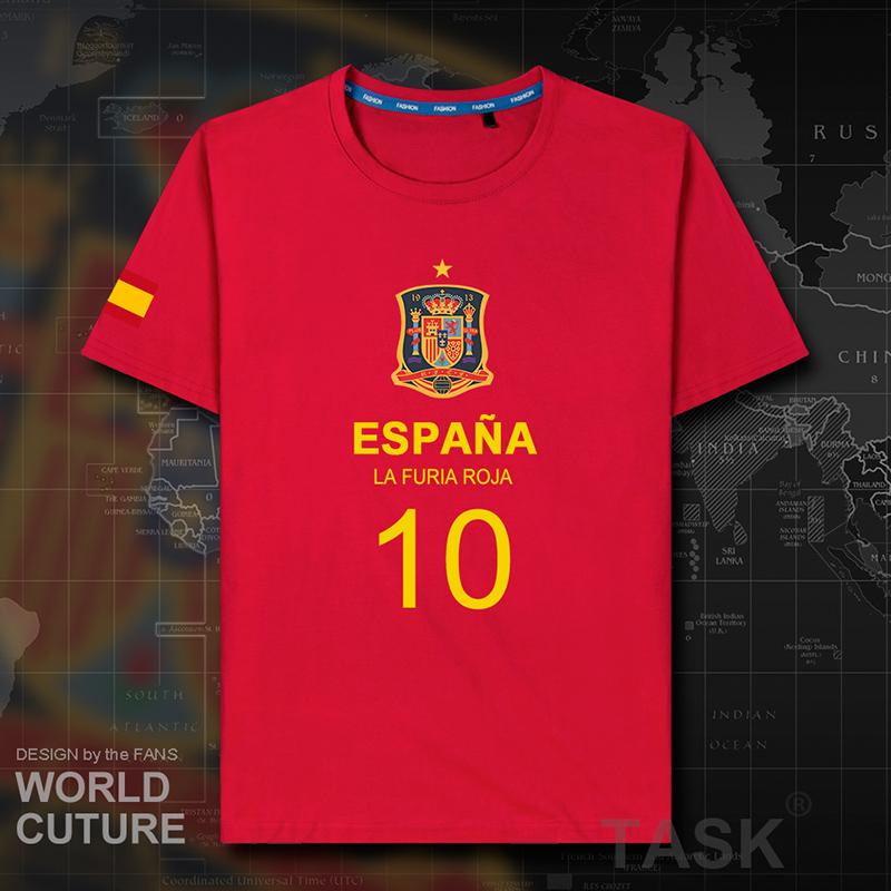纯棉短袖T恤男女西班牙Spain世界杯足球衣训练队服运动国家队夏装