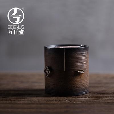 万仟堂陶瓷快客杯 一壶一杯带盖防烫粗陶创意便携泡茶器有福之人