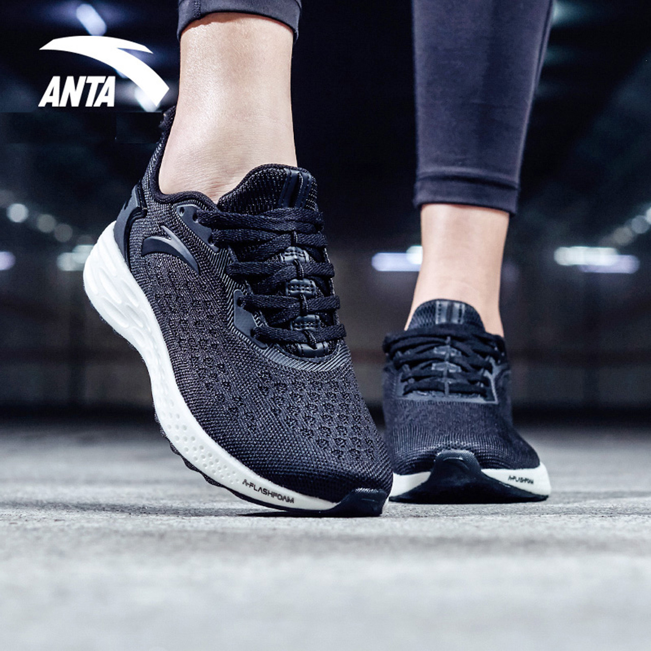 安踏女鞋2019冬季弹力缓震增高跑步鞋保暖网面慢跑鞋软底运动鞋