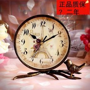 田园静音台钟座钟 创意台式钟个性客厅摆件钟表简约大号台钟坐钟