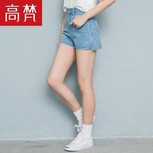 高梵2018夏新品 牛仔短裤女高腰弹力修身毛边显瘦学生韩版热裤