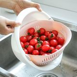 Plastic basket washing double drain basket Kitchen basket household fruit bowl multifunctional round sink fruit basket