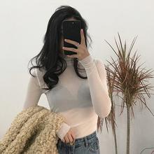 t恤薄款 长袖 防晒上衣学生高领内搭打底衫 韩版 夏季2019新款 修身图片