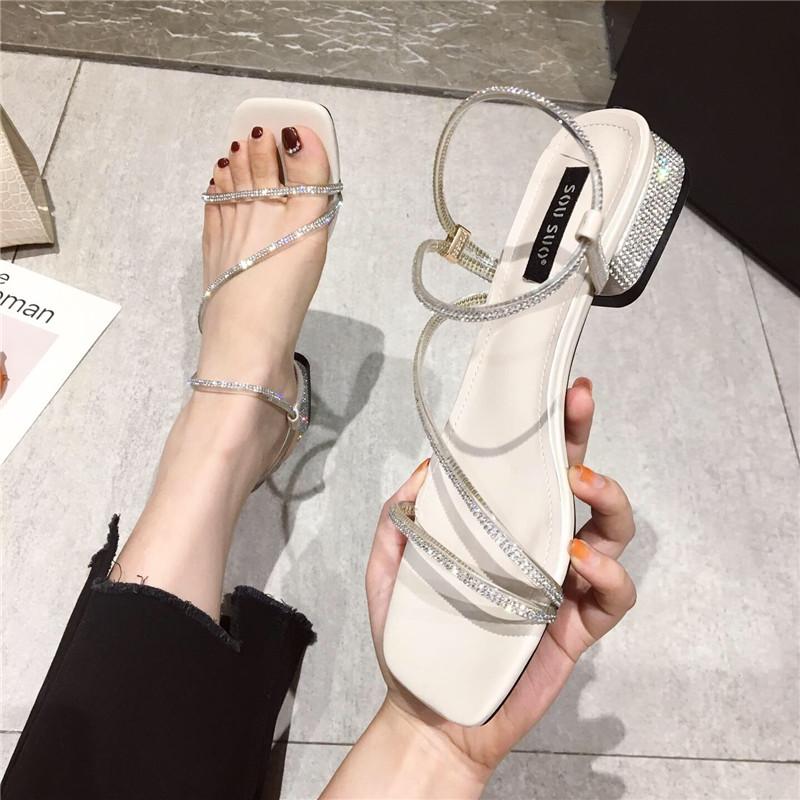 凉鞋女2019夏季新款时尚性感水钻镂空露趾粗跟低跟罗马鞋学生凉鞋