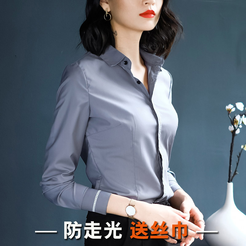 2018 autumn new white shirt female long sleeve professional wear Han Fan Slim white collar workers