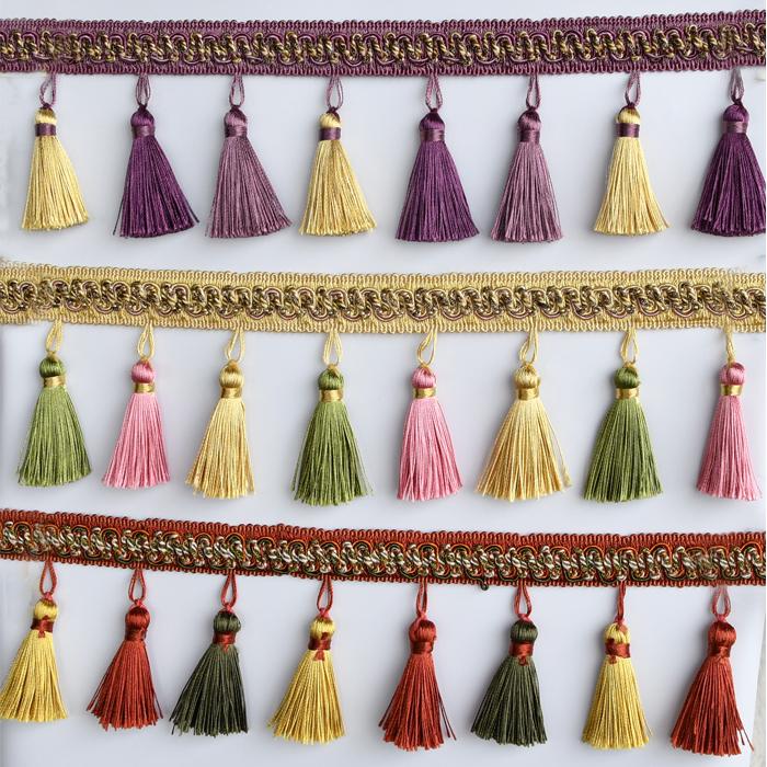 天河花边新品多彩美式窗帘花边吊穗流苏配件辅料装饰编织家居抱枕
