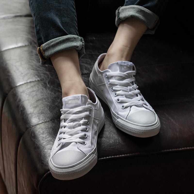 PONY夏季透气帆布鞋经典低帮黑白情侣鞋硫化男女鞋潮72U1SH44