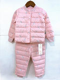 Anti season clearance boys and girls down liner pom bear children infant baby slim down jacket warm suit