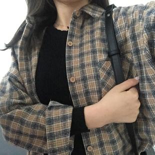 kumayes 秋冬格子不对称中长款棉混纺前短后长BF风衬衫韩版衬衣女