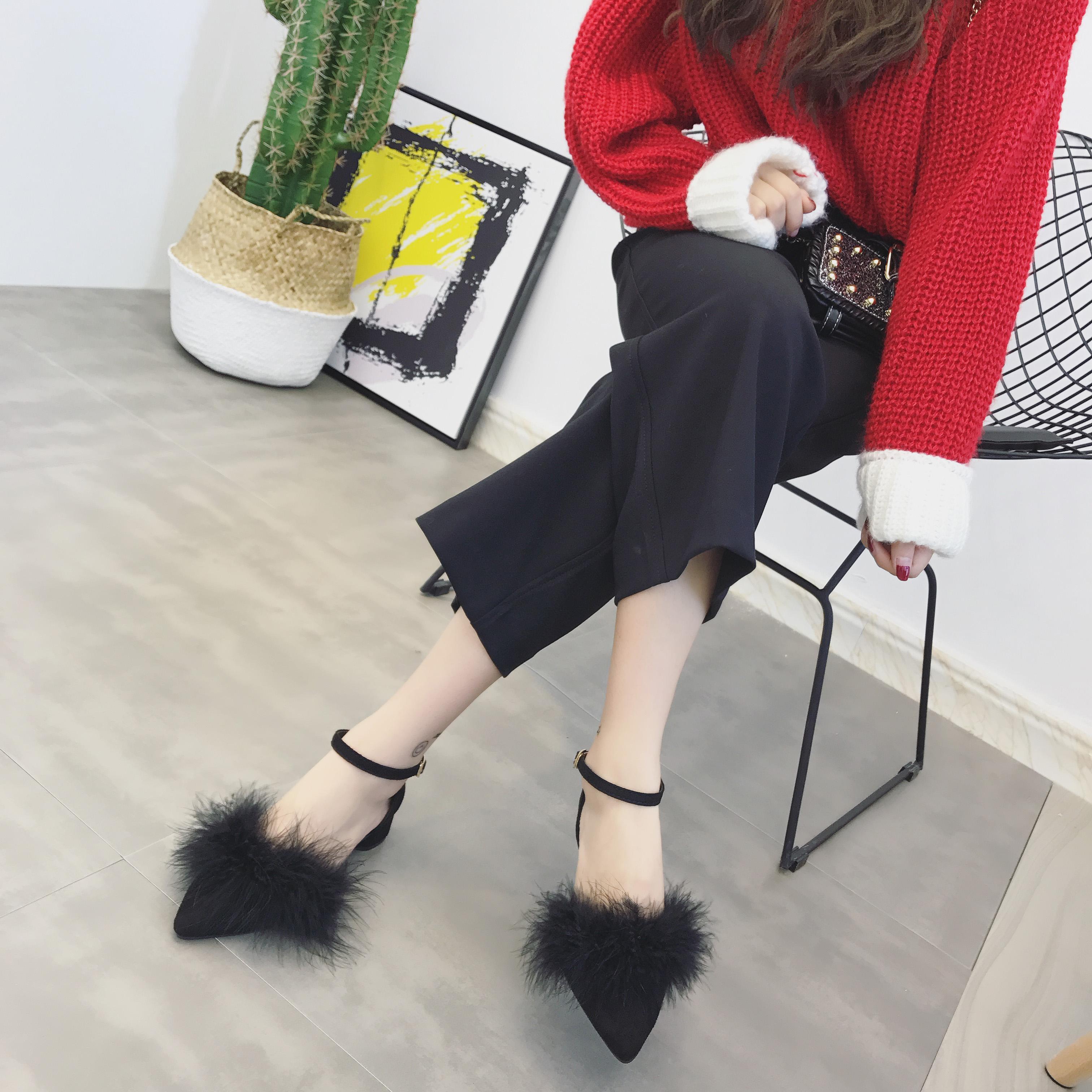 女鞋冬尖头中粗跟